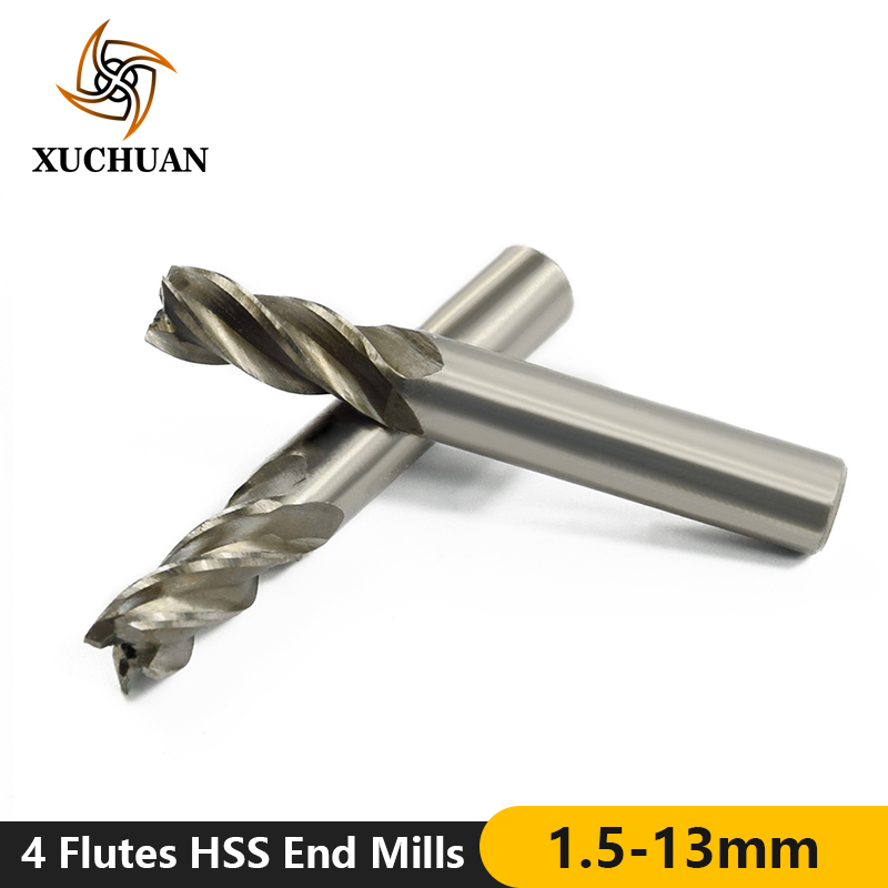 1pc 4 Flutes 1.5-13mm Spiral Milling Cutter High Speed Steel End Mill Straight Shank CNC Router Bit