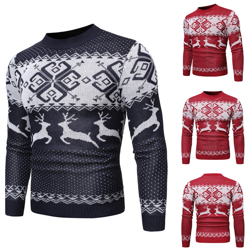 Fashion Mens Christmas Sweater Autumn Winter Printed Deer O Neck Pullover Knitted Jumper Sweaters Causal Slim Wool Male Clothes