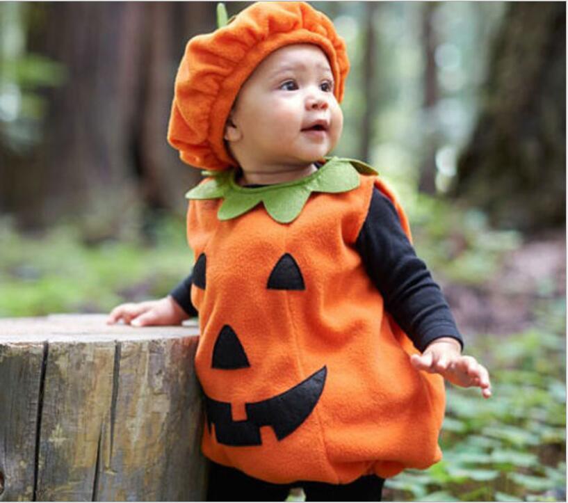 Halloween Costume Cartoon Pumpkin Outfit Microfiber Hat Party Baby Romper Suit