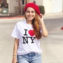 T-shirt manches courtes pour femmes, estival et à la mode, avec image imprimée I Love NY, esthétique des années 90, 2020