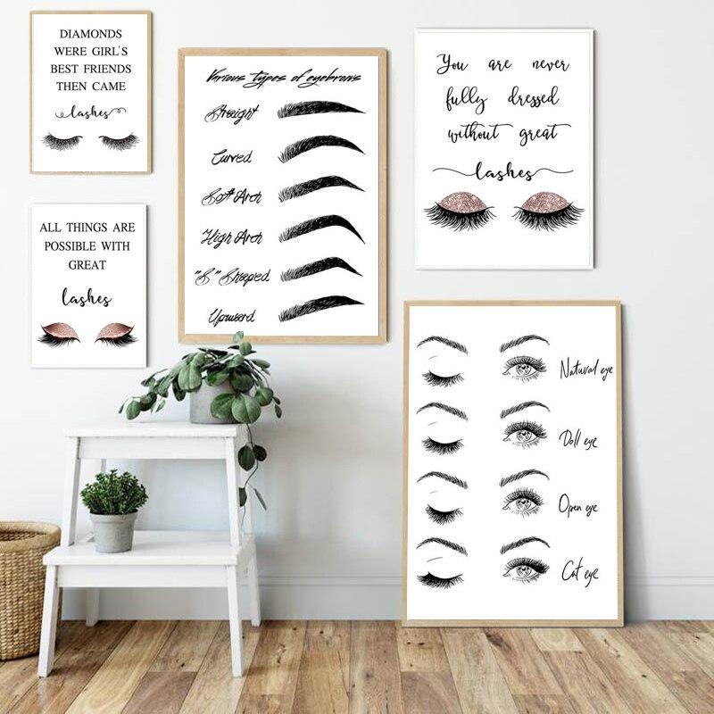 Плакаты и принты макияж для ресниц для наращивания техник руководство стены Картины ресниц абстрактные картины для Красота магазин Декор
