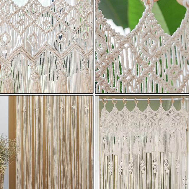 богемный ручной работы занавес макраме богемный свадебный фон фотография