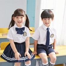 Plested-Skirt Graduation-Shirt School-Uniform Korean-Outfits Japanese Kindergarten Kids