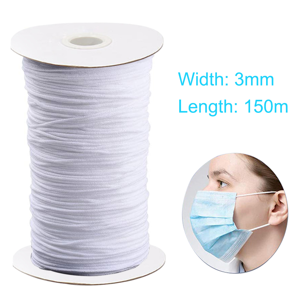 100/150/200/250m Hollow Round Elastic Band Face Mask Ear Ropes String Mask Cord Rope For DIY Face Mask Craft Accessories Apr13