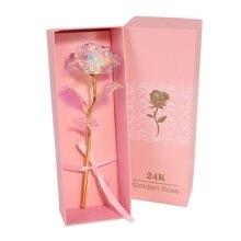 Valentine's Day Gift 24K Foil Plated Rose LED Gold Rose Lasts Forever Love Wedding Decor Lover Lighting Rose Pink Box Packaging
