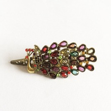 1 Pcs/lot Newest Retro Alloy Peacock Hair Clips Rhinestone Charming Hairpin Jewelry Antique Gold Plated Women Bijoux