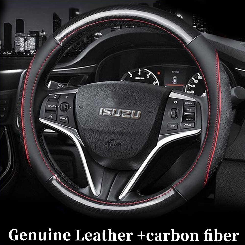 جلد طبيعي عجلة القيادة يغطي اكسسوارات السيارات التصميم ل ايسوزو التصاعدي تروبر TF بيك اب MU-X D-MAX MUX DMAX