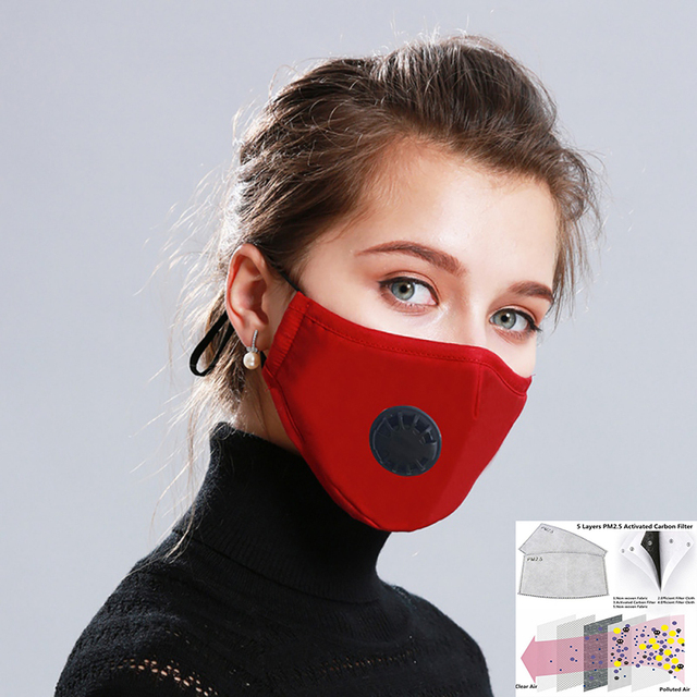 Cotton PM2.5 Black mouth Masks Anti Haze Anti-dust Mask Activated Carbon Filter Respirator bacteria proof Flu Face masks HOT
