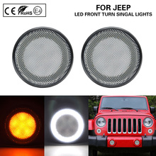 цена на Clear 2-IN-1 Functions LED Side Marker Lamps turn signal lights(Amber)LED Position light(white)for JEEP Wrangler JK 2007-2017