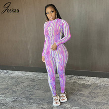 Joskaa Print Sheer Mesh Long Sleeve Bodycon Jumpsuit Women Sexy Clothes Clubwear See Through One Piece Party Brithday Outfit