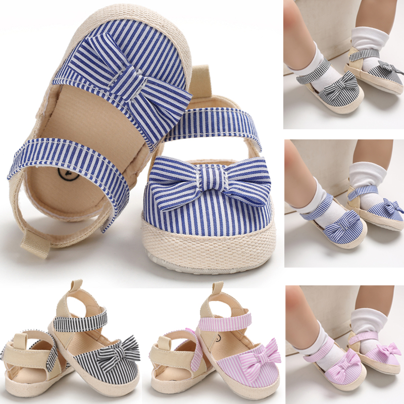 Summer Children Newborn Infant Shoes Baby Girl Boy Soft Crib Sneaker Anti-slip Striped Bow First Walker Shoes 0-18M