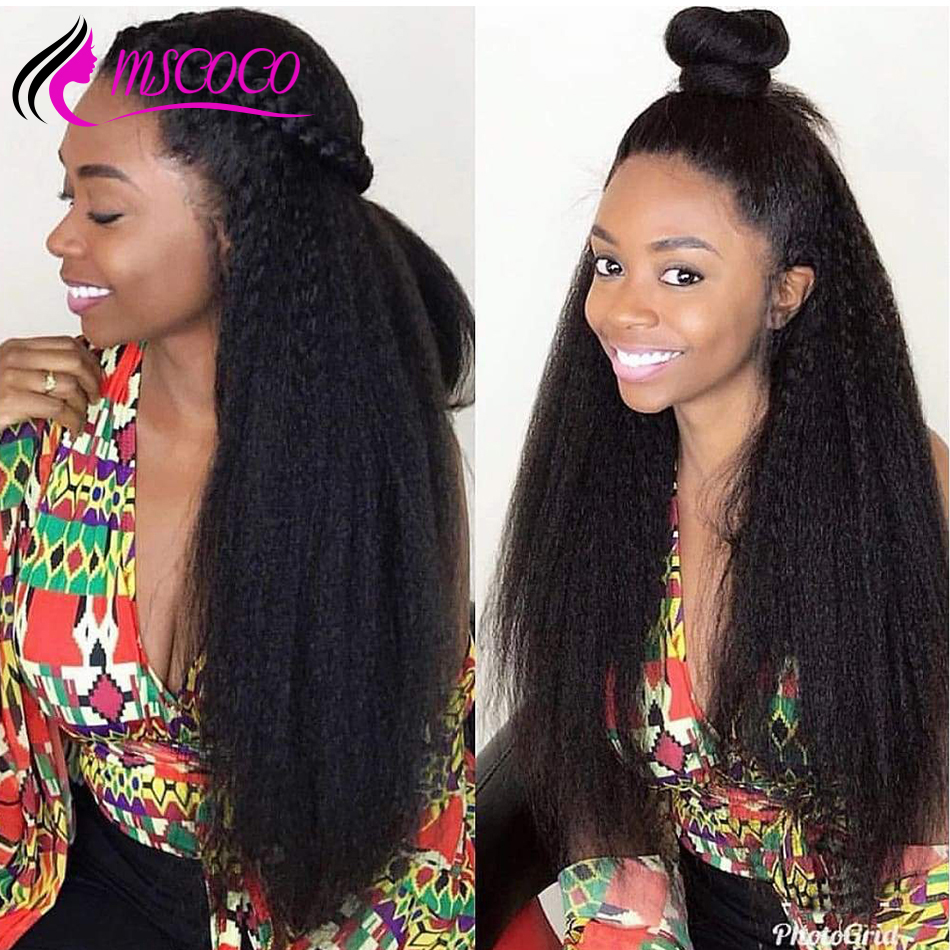 Kinky Straight Wig 360 Lace Frontal Wig Pre Plucked 180 250 Density Yaki Human Hair Wig 13x6 Lace Front Human Hair Wigs Mscoco