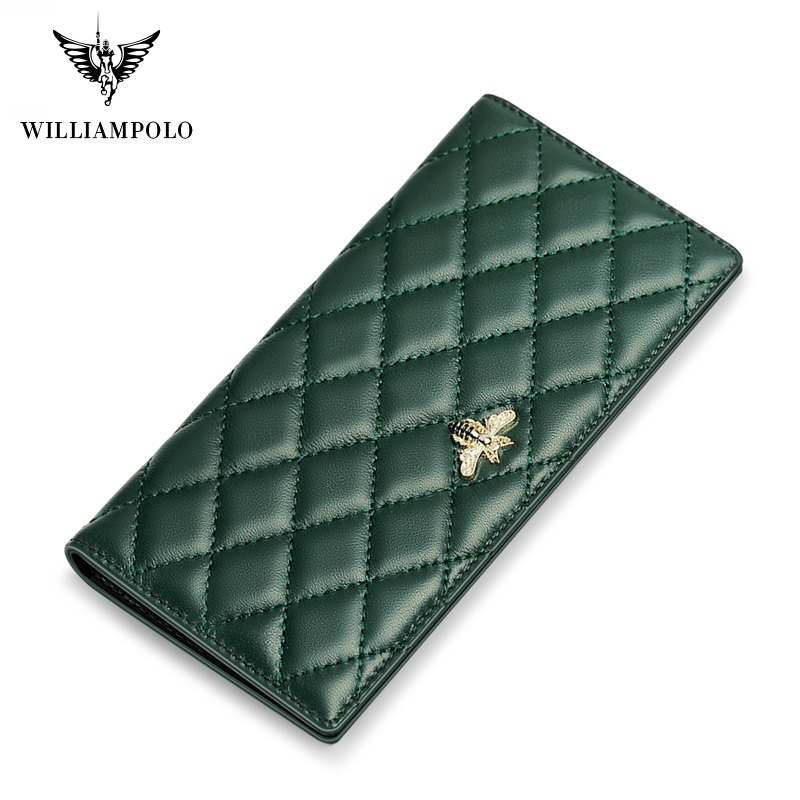 WilliamPolo New Long Women's Wallet Full-Grain leather Ultra-thin Multi-Card Holder Simple Large-Capacity Card Holder Anti-theft