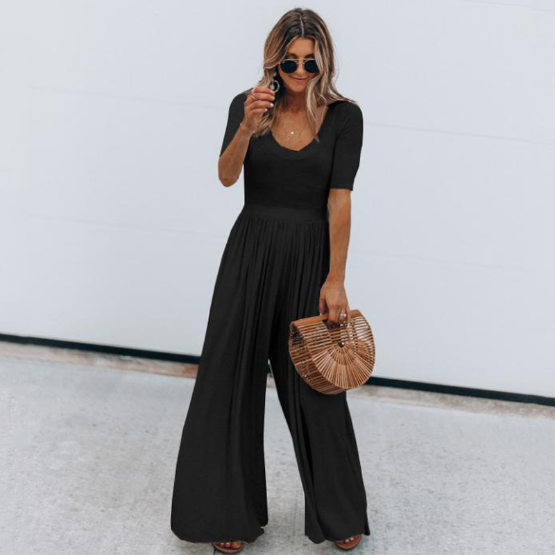 Women Jumpsuit Casual Short Sleeve O Neck Summer Slim Long Playsuit Overalls Ladies Black Cotton Wide Leg Jumpsuit Loose Rompers