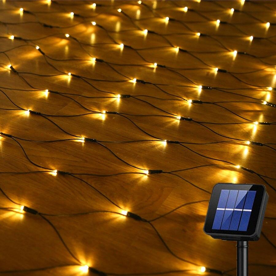 Thrisdar 2X3M 204 LED Solar Net Mesh Fairy String Light Christmas Garden Wall Window Curtain Solar Net String Garland Light