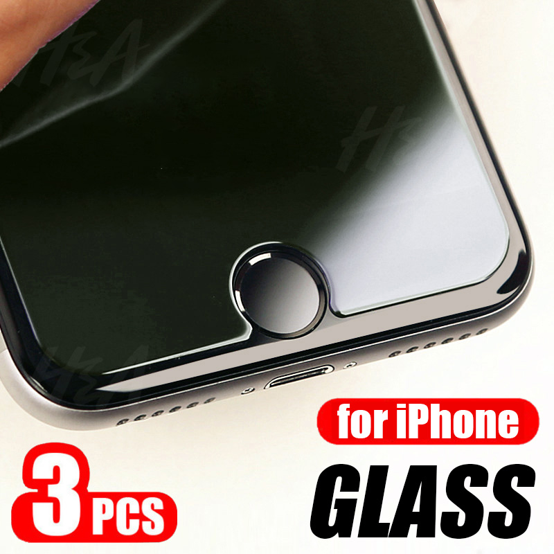 3Pcs Tempered <font><b>Glass</b></font> For <font><b>iPhone</b></font> 7 <font><b>8</b></font> 6 6s Plus 5 5S SE <font><b>Screen</b></font> <font><b>Protector</b></font> For <font><b>iPhone</b></font> X XR XS 11 Pro Max Protective <font><b>Glass</b></font> Film image