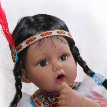 20'' Bebe Reborn Baby Indian Girl Doll Silicone Vinyl Lifelike Newborn Toys Gift American Girl Doll Baby Doll Toy 18inch american girl doll with long straight hair in one piece dress lifelike silicone baby doll baby toys girls gift brinquedos