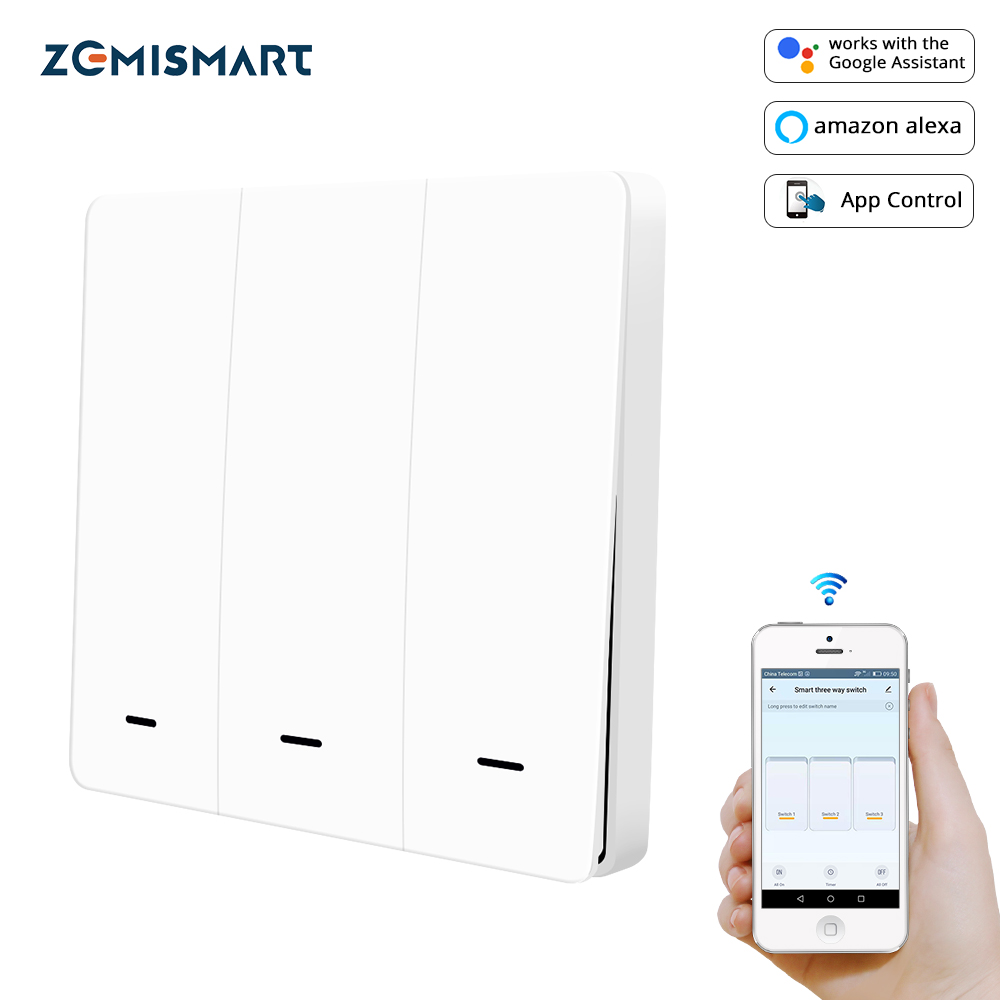 Zemismart Tuya Zigbee Light Switch 3 Gangs Physical Wall Switches Push Interruptor 110v 220v