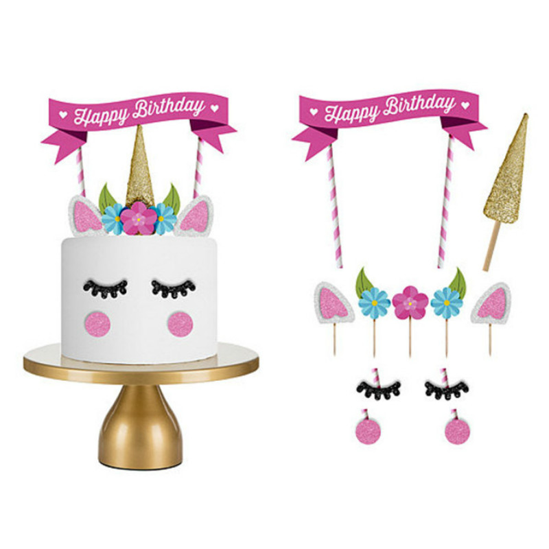Cakelove 1set Handmade Pink Unicorn Party Cake Topper Wedding Cupcake Decoration Happy Birthday Party Supplies Baby Children