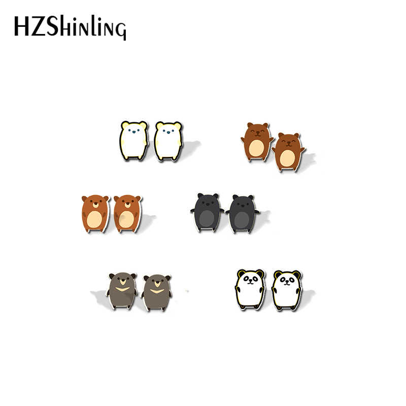 2019 Baru Kedatangan Shrinky Dinks Earrings Acrylic Kartun Hewan Lucu Beruang Pola Pesona Manis Anting-Anting Resin Epoxy Anting-Anting