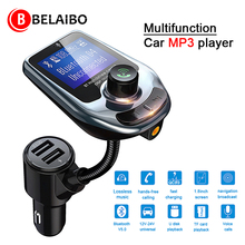 New Mp3 Player Bluetooth Car Kit Music Player FM Transmitter Modulator with 3.0a Dual Usb Car Charger Speakers AUX Connection