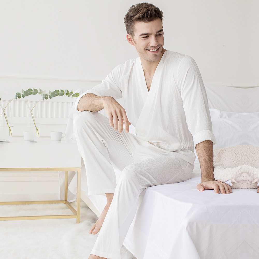Men Jacquard White Bodysuit One-piece Sleepwear Pantsuit Lounge Wear Homewear Romper Onesie