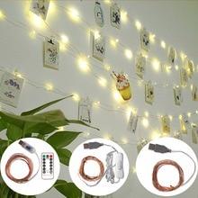 Светодиодные гирлянда для фото 5 м 10 м светодиодный светильник с зажимами светодиодный s гирлянда USB мощность медный провод сказочные огни Открытый теплый белый Рождественское украшение для дома водонепроницаемый