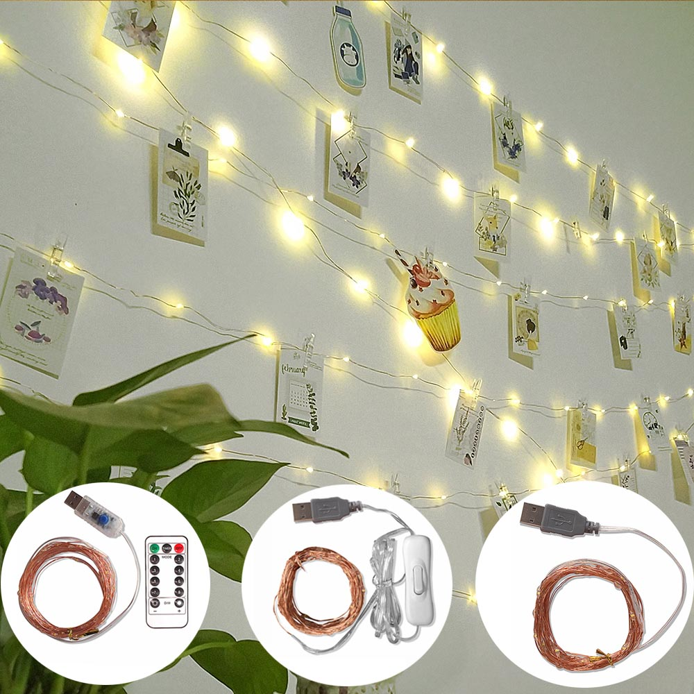 5M 10M LED Light String With Clips LEDs Garland USB Power Copper Wire Fairy Lights Outdoor Warm White Xmas Home Decor Waterproof