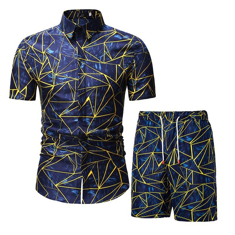 26color Men Hawaii Casual Set Fashion 2 PCS Sweat Suit Short Sleeve Shirt+Shorts Sets Male Tracksuit Summer Holiday Sportsuit