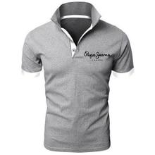 Мужская приталенная рубашка-поло, повседневная Однотонная рубашка-поло с короткими рукавами и карманами, белого и черного цвета, размеры до...