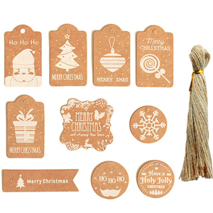 50Pcs Merry Christmas Kraft Paper Tags With Rope Xmas DIY Hanging Gift Box Tag Labels for Party Christmas Decorations Navidad