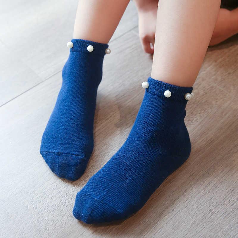 Pearl Design Soft Ankle Socks Children Floor Sock Combed Cotton Baby Socks