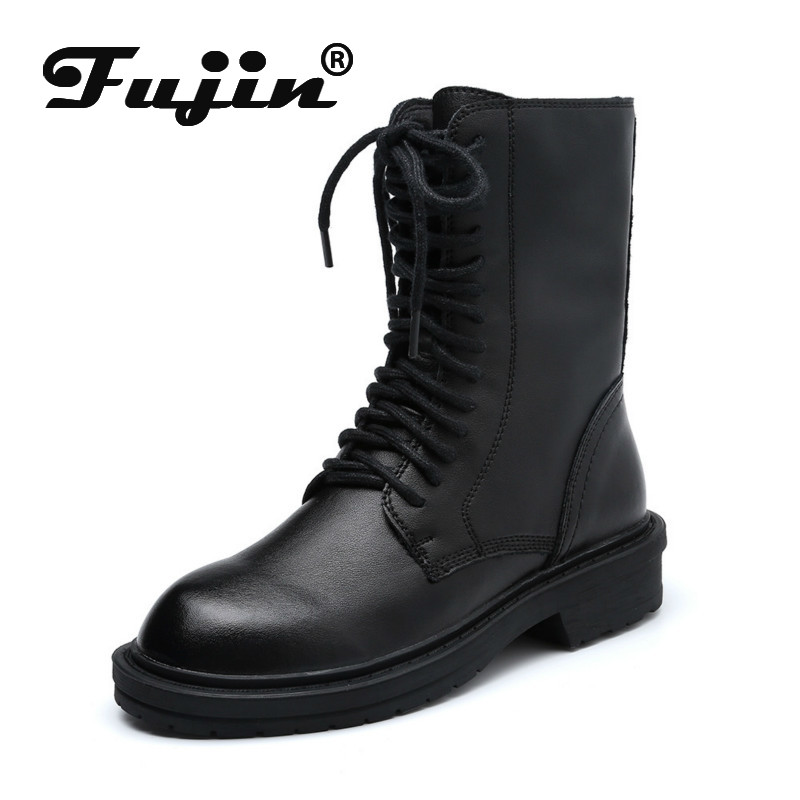 Fujin Short Boots Women's 2020 Autumn Winter Cross Tied New Fashion Breathable Flat Bottom Causal Lace Up Round Toe Ankle Boots
