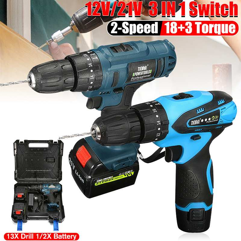 21V/12V 18+3 Torque Impact Cordless Electric Drill Screwdriver Wireless Double Lithium-Ion Battery Electric Power Tools Drills