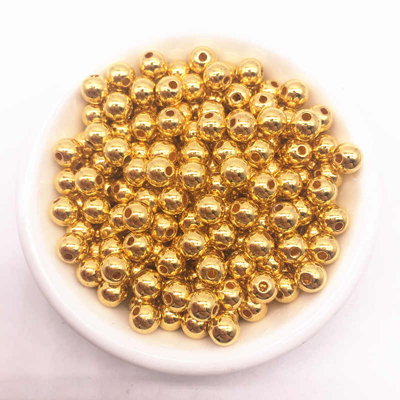 Grosir 6/8/10/12Mm Plastik Manik-manik Halus Bulat Longgar Pengatur Jarak Manik-manik Kerajinan Dekorasi untuk Gelang kalung Perhiasan Membuat