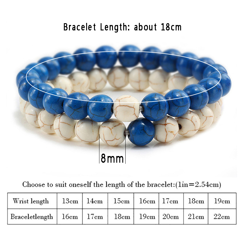 2Pcs/set Couple Distance Beaded Bracelet Natural Stone Strand Bracelets Homme Charm Yoga Jewelry Gifts for Women Men Best Friend