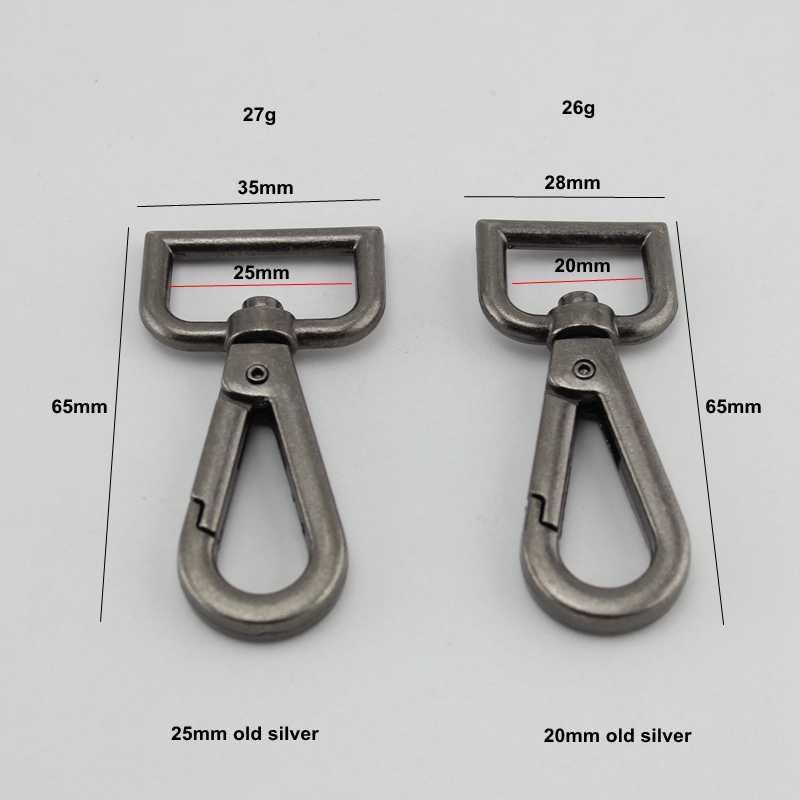 2-10-30 pieces,20mm 25mm Strong Swivel Snap Hooks,Old Silver Finish Handbag Purse Bag Making Hardware
