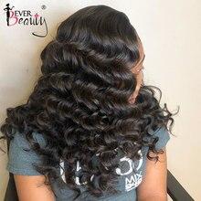 13x4 onda solta frente do laço perucas de cabelo humano para preto feminino parte superior de seda encaracolado do laço frontal peruca pré arrancadas sempre lojas de beleza