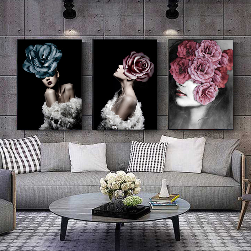 Nordic Abstract Girl Flower Bird Wall Art Canvas Painting Posters And Prints Vintage Wall Pictures For Living Room Home Decor