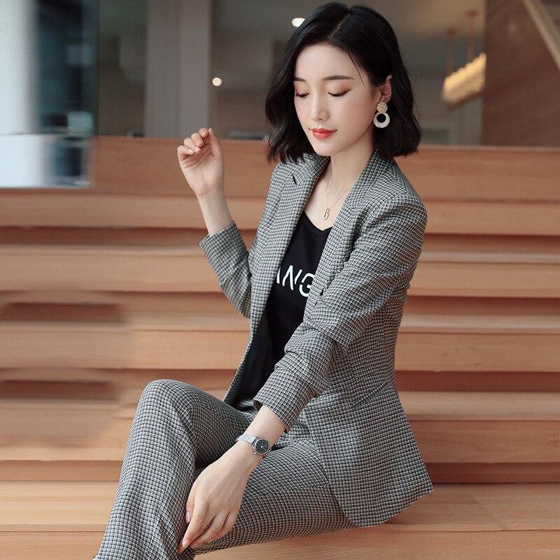 Women Clothes Blazer Feminino England Plaid Women Blazers And Jackets Plus Size Top Suit Women Ensemble Femme 2 Pieces Tops Qw