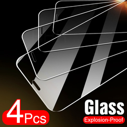 4Pcs Tempered Glass For iPhone 11 12 Pro XS Max X XR Full Cover Screen Protector For iPhone 7 8 6 Plus SE 2020 Protective Glass