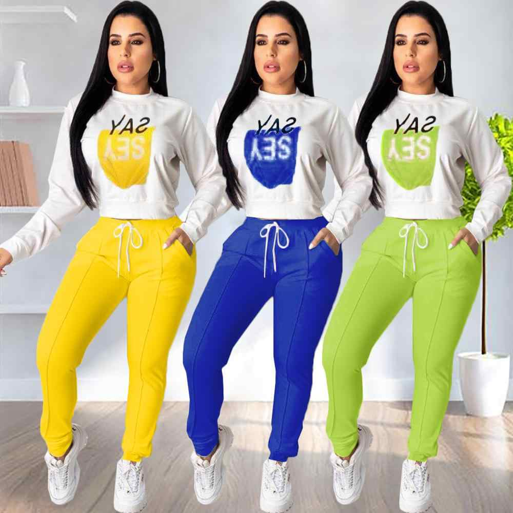 Newest Styles Letters Print Women Tracksuits 2020 Spring Autumn Long Sleeve T Shirt Long Pants Fashion 2 Pieces Sets Real Image