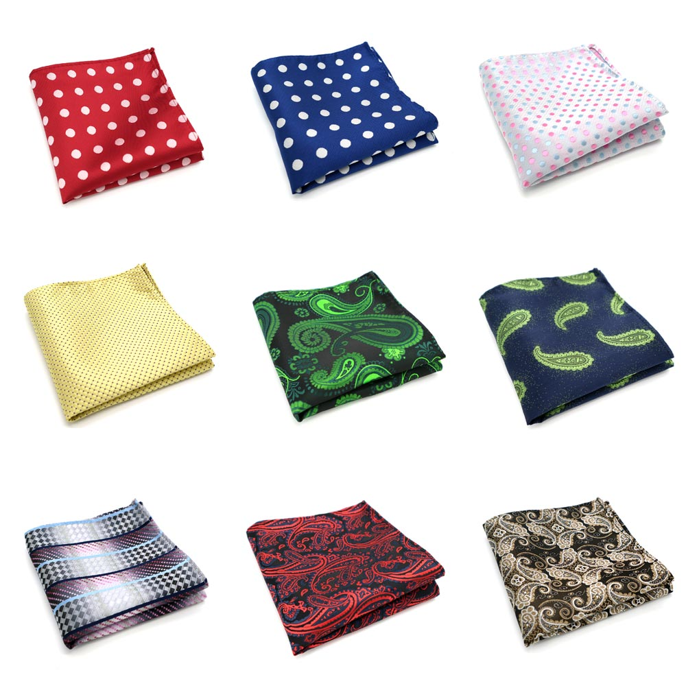 35 Color Mens Polyester Silk Pocket Squares 25CM Dots Paisley Man Handkerchief Groom Wedding Party Chest Towel Hankies Fashion