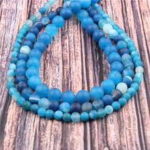 Hot?Sale?Natural?Stone?Frosted blue stripes15.5?Pick?Size?6/8/10/12mm?fit?Diy?Charms?Beads?Jewelry?Making?Accessories