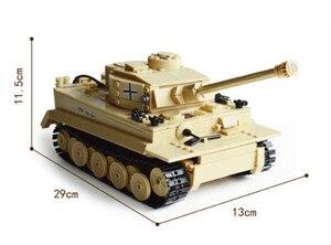 Image 3 - 995Pcs 독일어 킹 타이거 탱크 모델 빌딩 블록 세트 군사 기술 WW2 육군 군인 DIY Brinquedos 벽돌 아이 장난감