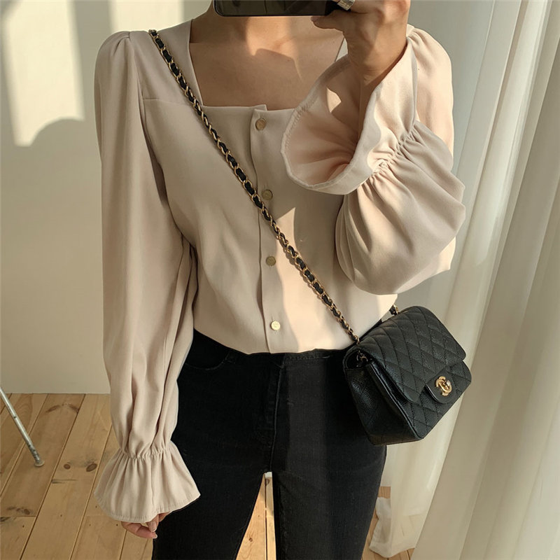 Alien Kitty Chic All Match Square Collar 2020 Delicate Slender Flare Sleeves Solid Elegant Casual Office Lady Loose Shirts