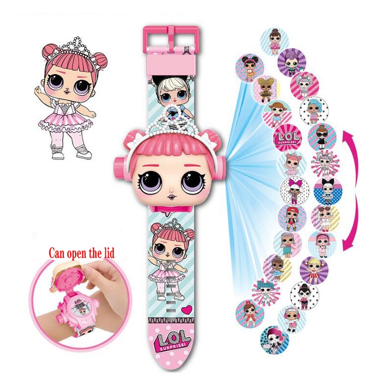 New LOL Dolls Surprise Projection Cartoon Children Watches Anime Educational Figure Boys Girls Watch Kids Toys Multiple Styles