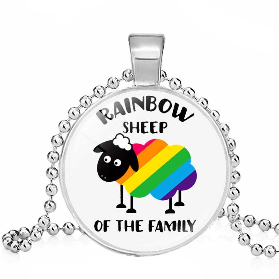 Rainbow LGBT สร้อยคอเกย์เลสเบี้ยน LGBT สร้อยคอ Rainbow FLAG Bi Pride จี้สร้อยคอแก้ว Cabochon ขายส่งเครื่องประดับ