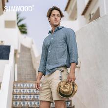 SIMWOOD 2020 Spring Summer New Cotton Linen shirts men vertical striped long sleeve breathable plus size shirt SJ170101
