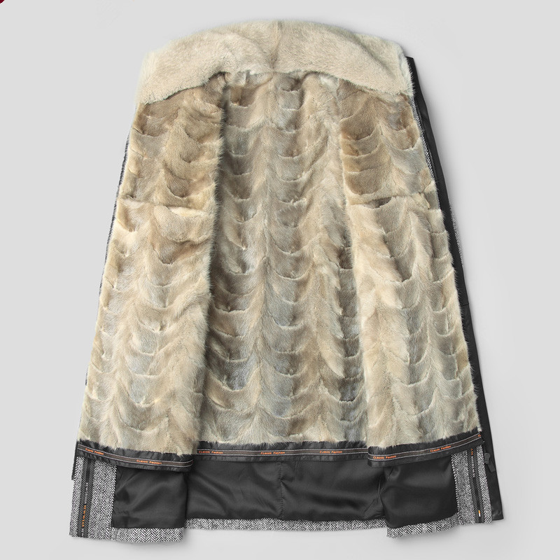 Real Coat Mink Fur Parka Men's Winter Jacket Men Natural Wool Coats Luxury Warm Jackets Plus Size Veste Homme MY1226